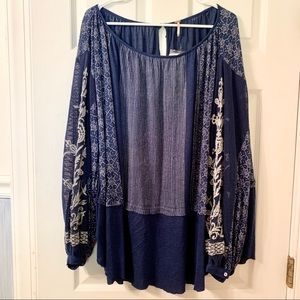 Free People Long Sleeved Billow Blouse NWT
